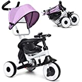 Baby Joy 4-in-1 Kids Tricycle Folding Baby Tricycle w/Adjustable Awning, Folding ABS Foot Pedals, Storage Bag, Sponge…