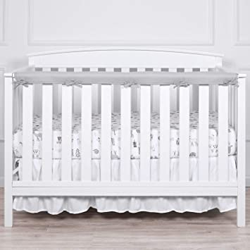 100/% Silky Soft Microfiber Polyester Measuring Up to 8 Around White//Pale Gray TILLYOU 1-Pack Padded Baby Crib Rail Cover Protector Safe Teething Guard Wrap for Long Front Crib Rails Reversible
