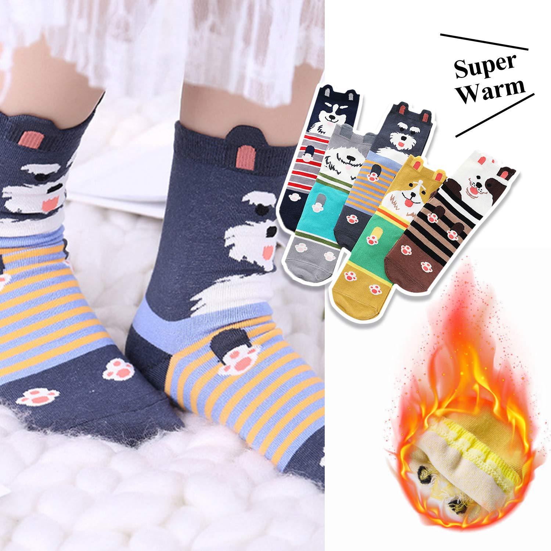 Calzini donna corti 5 paia calze da donna fantasia in cotone con con stampa cane calzini colorati corte strani termici spessi caldi ideali per donne ragazze regali di Natale