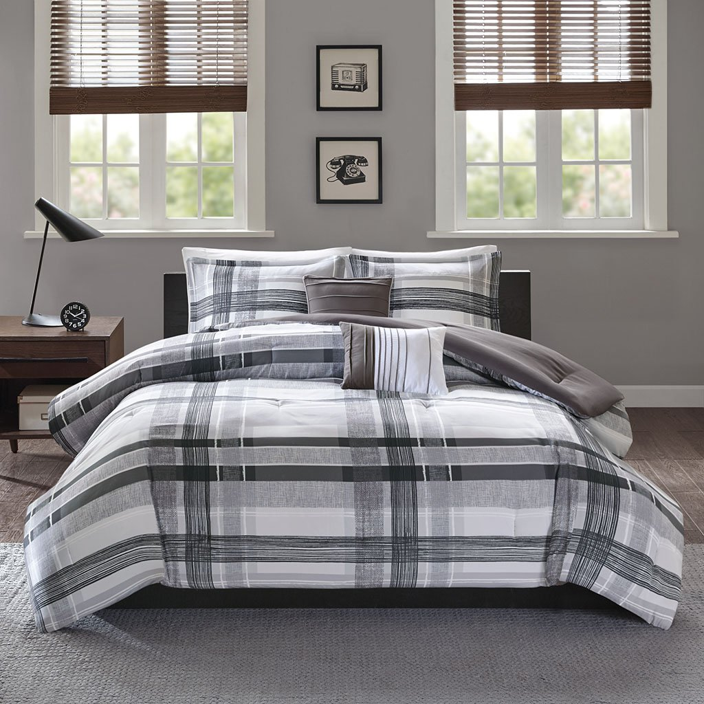 Intelligent Design Rudy Comforter Reversible Solid Plaid Stripe Printed Ultra Soft Microfiber Down Alternative Pleated Decor Pillow Bedding-Set, Twin/Twin XL, Black