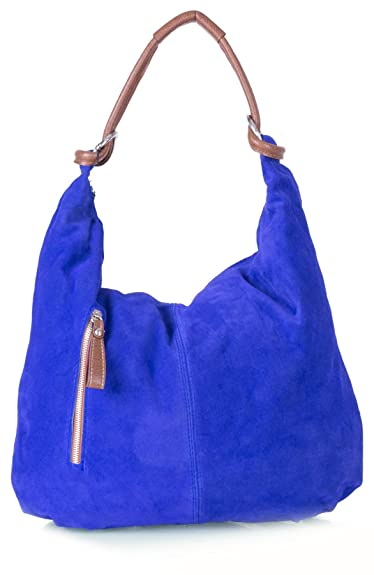bced09a931 Amazon.com  Real Italian Handmade Suede Leather Large Hobo Shopper Shoulder Bag  Purse (Cobalt Blue)  Shoes