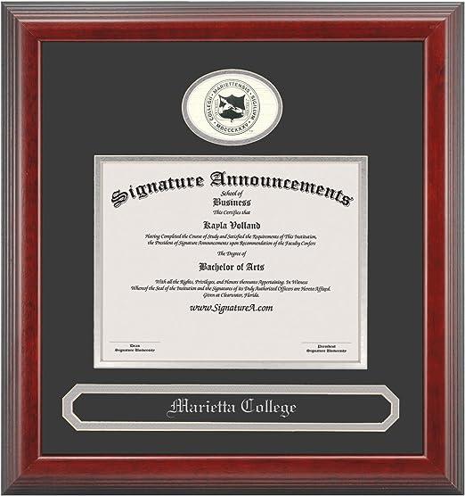 Signature Announcements Marietta-College Undergraduate Professional//Doctor Sculpted Foil Seal /& Name Graduation Diploma Frame 16 x 16 Cherry