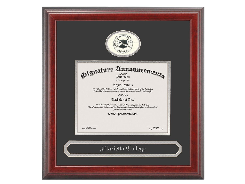 Professional//Doctor Sculpted Foil Seal /& Name Graduation Diploma Frame 16 x 16 Cherry Signature Announcements Marietta-College Undergraduate