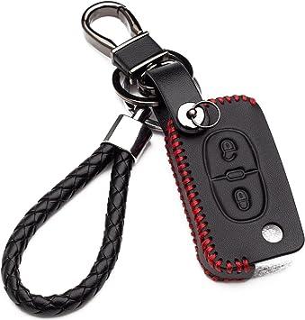 2 Boutons En Cuir Porte-cl/és Fob Cas Smart Car Key Housses en cuir avec porte-cl/és