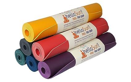 helloSun Esterilla Yoga Calidad Premium, Goma Natural, Agarre Extra, Anti Deslizante, Absorbe la Humedad, Ligera, Certificado OEKOTex, Hecha en ...