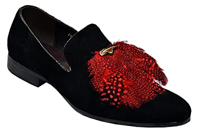 Men's Genuine Leather Suede Peacock Feather Italian Design Italy Slip-On Loafer Shoes FI7115 Black/Red