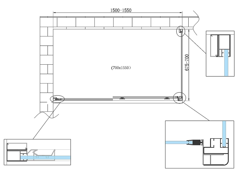 Laneri Box Doccia Angolare Porta Scorrevole Frontale Reversibile Parete Fissa Laterale 67.5-70 Fissa x 110-115 Porta