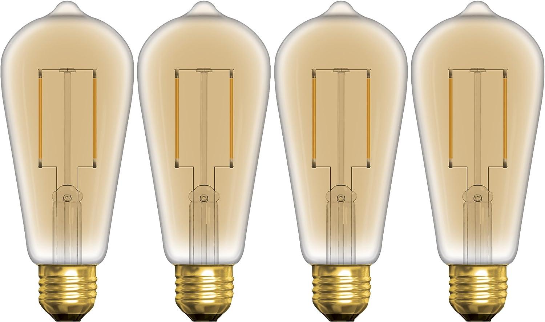 GE Lighting 37624 LED Vintage ST19 Light Bulb with Medium Base, 5-Watt, Soft White, 4-Pack, 4 Piece