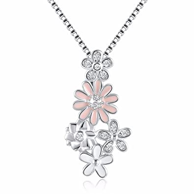 33c474fc95799 Angemiel 925 Sterling Silver Dazzling Enamel Dahlia Flowers Vintage Pendant  Necklace, Box Chain 18