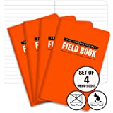"The Indestructible, Waterproof, Tearproof, Weatherproof Field Notebook - 3.5""x5.5"" - Orange - Lined Memo Book - Pack of 4"