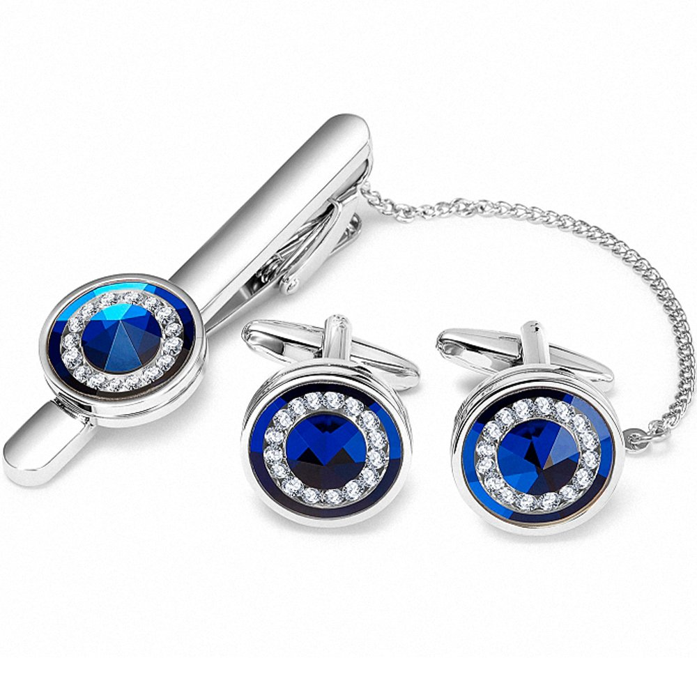 BagTu Blue Crystal Cufflinks and Tie Clip Set Gift for Men Wedding in Black Gift Box