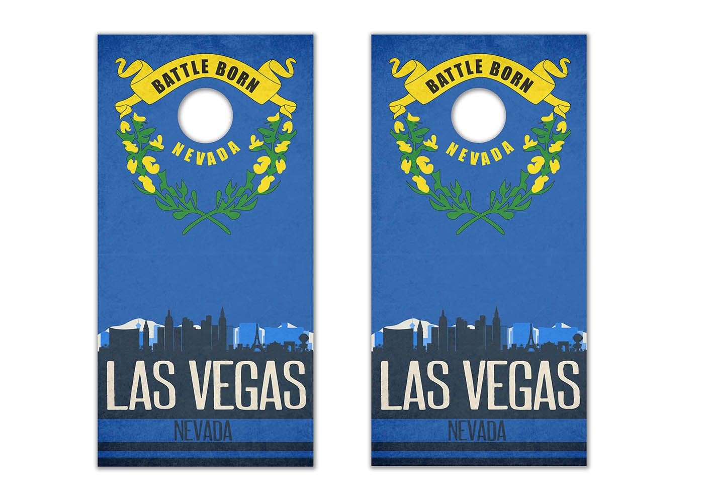 Las Vegas State Flag Skyline - Cornhole Crew - ACA Regulation Size Cornhole Board Decals