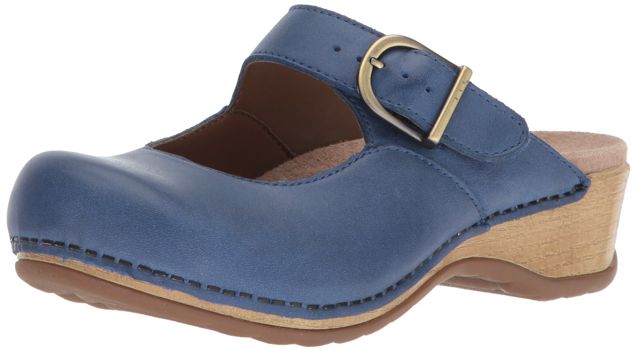 Dansko Women's Martina Mule, Blue Burnished Nappa, 40 M EU (9.5-10 US)