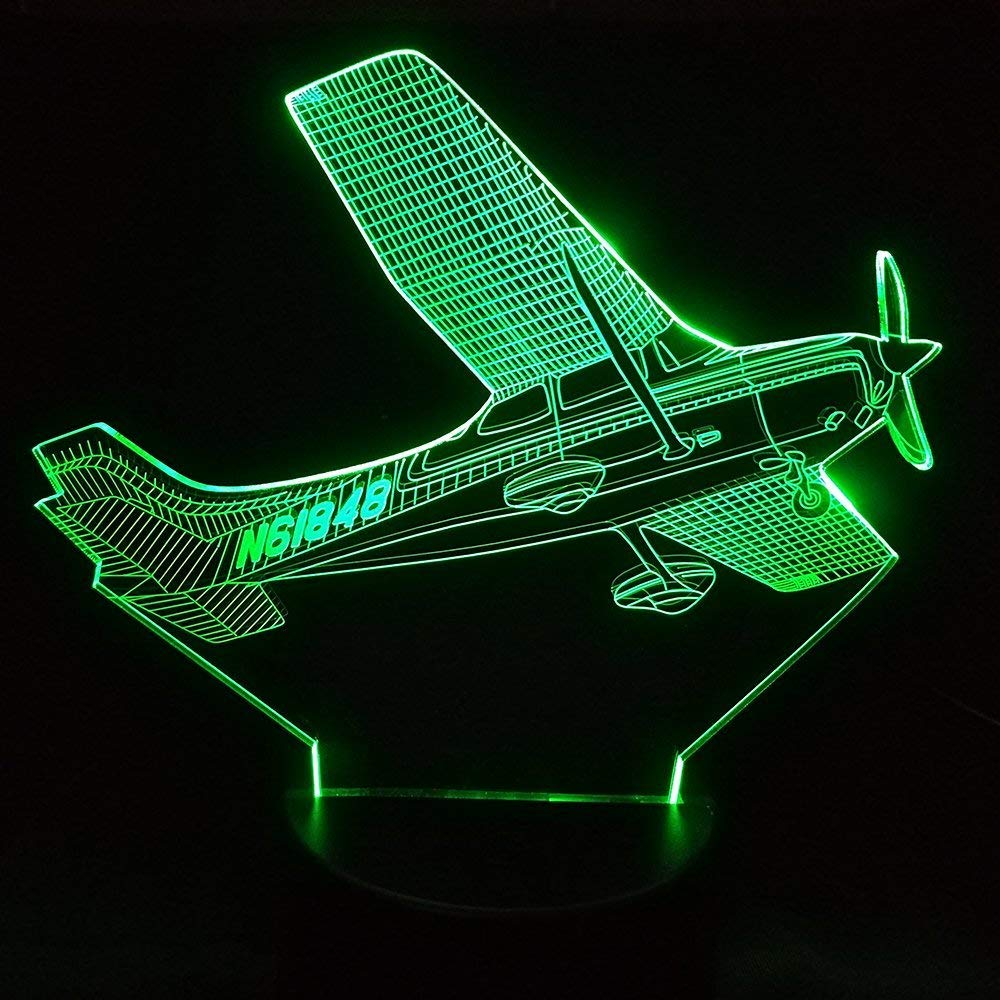 3D Plane Night Light Aircraft Table Lamp Decor Table Desk Optical Illusion Lamps 7 Color Changing Lights LED Table Lamp Xmas Home Love Brithday Children Kids Decor Toy Gift