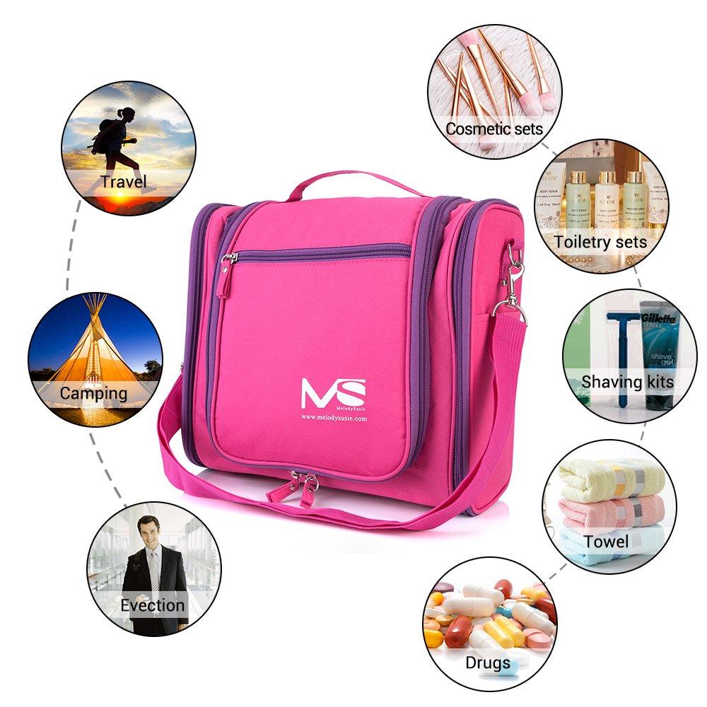 MelodySusie®–Neceser de baño colgante e impermeable de tamaño grande rojo rosa fuerte