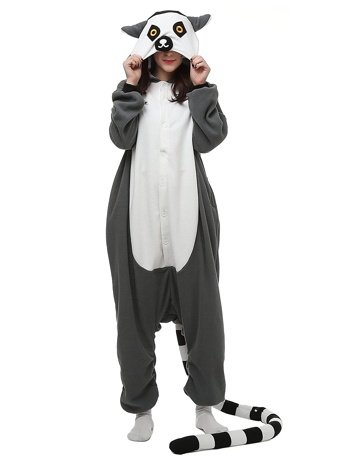 Sarahbridal Onesie Polar Fleece Pyjamas Cartoon Animal Cosplay Sleepwear for Unisex