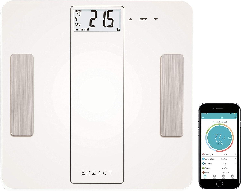 Exzact Smart - Escala Analizadora Inteligente/Analizador Corporal/Báscula Personal Electronica/Báscula de Baño Digital - Bluetooth 4.0 (iPhone ...