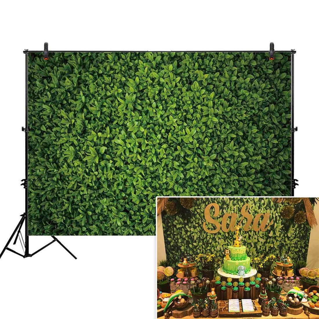 Allenjoy 7x5ft Fabric Green Leaves Wall Backdrop for Photography Grass Floordrop Picture Background Spring Safari Party Ground Decor Outdoorsy Theme Newborn Baby Shower Wedding Photo Studio Props Drop by Allenjoy
