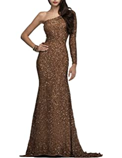 YSMei Womens One Shoulder Sequins Evening Dresses Long Prom Formal Gowns YSM185