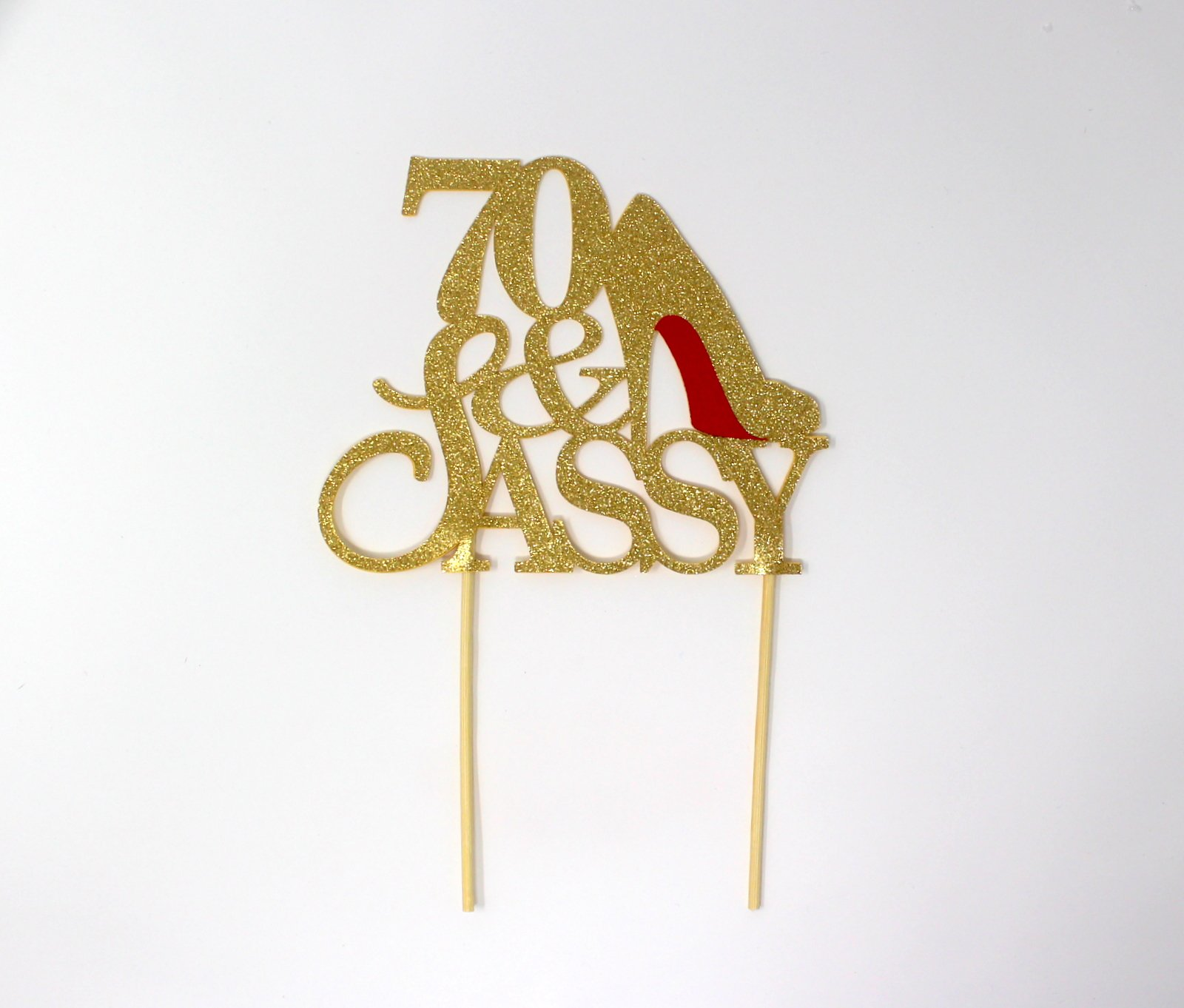All About Details CAT70SAGOL 70 & Sassy Cake Topper (Gold), 6in wide and 5in tall with 2-pcs of 4in wood skewers