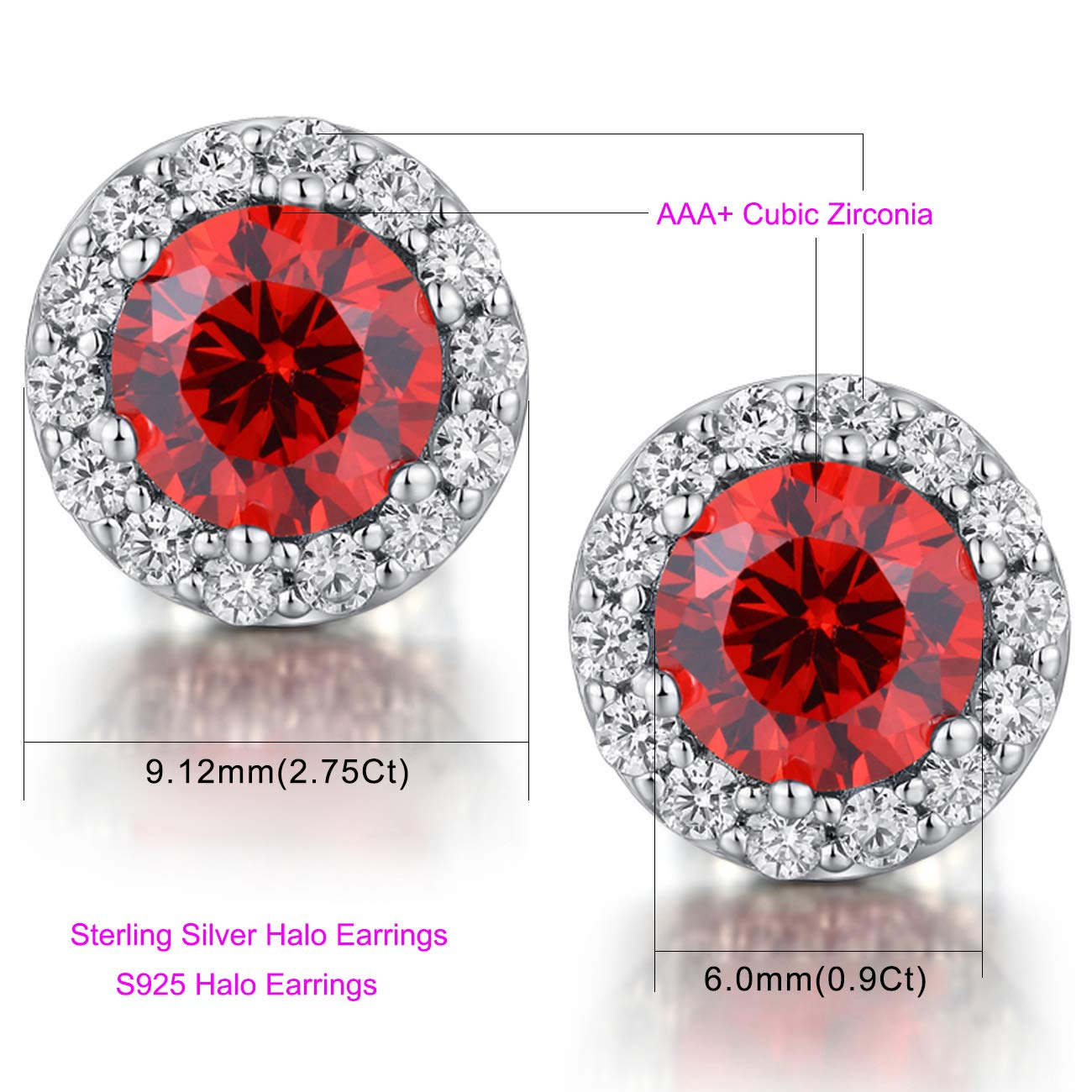 ZowBinBin Sterling Silver Round Cut Cubic Zirconia Stud Earrings,Halo Stud Earrings,Bezel-set Martini Stud Earrings for Christmas Day,Valentines Day,Anniversary,Birthday and Wedding//Engagement 18K White Gold Plated Round Halo Stud Earrings EHEC/_W