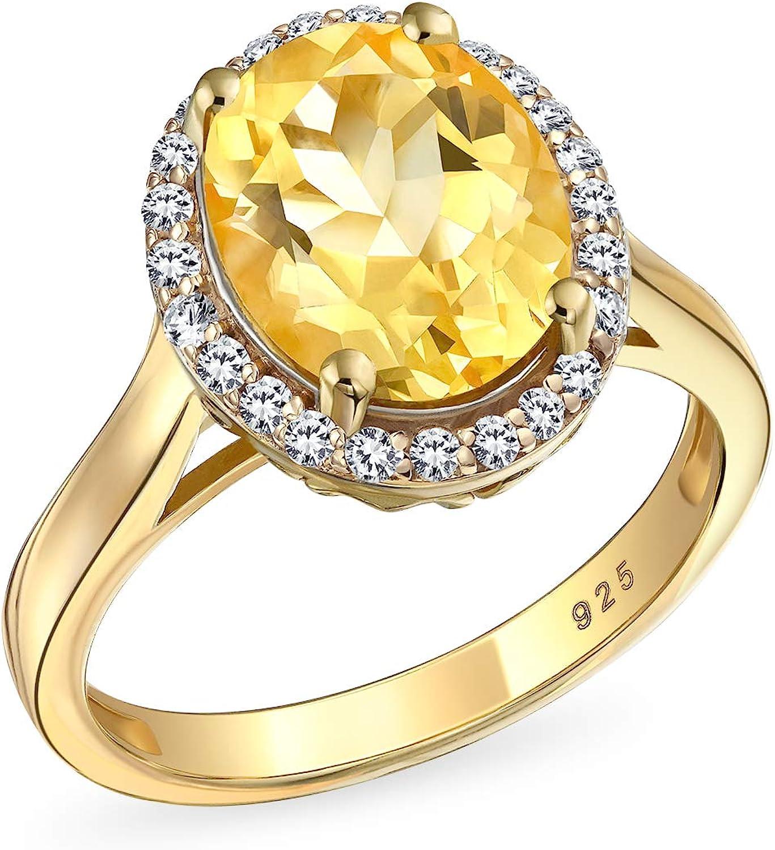 3Ct Oval Corte Amarillo Piedra Nacimientos Circón Citrino Halo Anillo Mujer Chapado En Oro 14K 925 Plata Noviembre