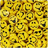 BEADTIN Expressions 13mm Picture Beads - Bright Yellow with Black (30pc)