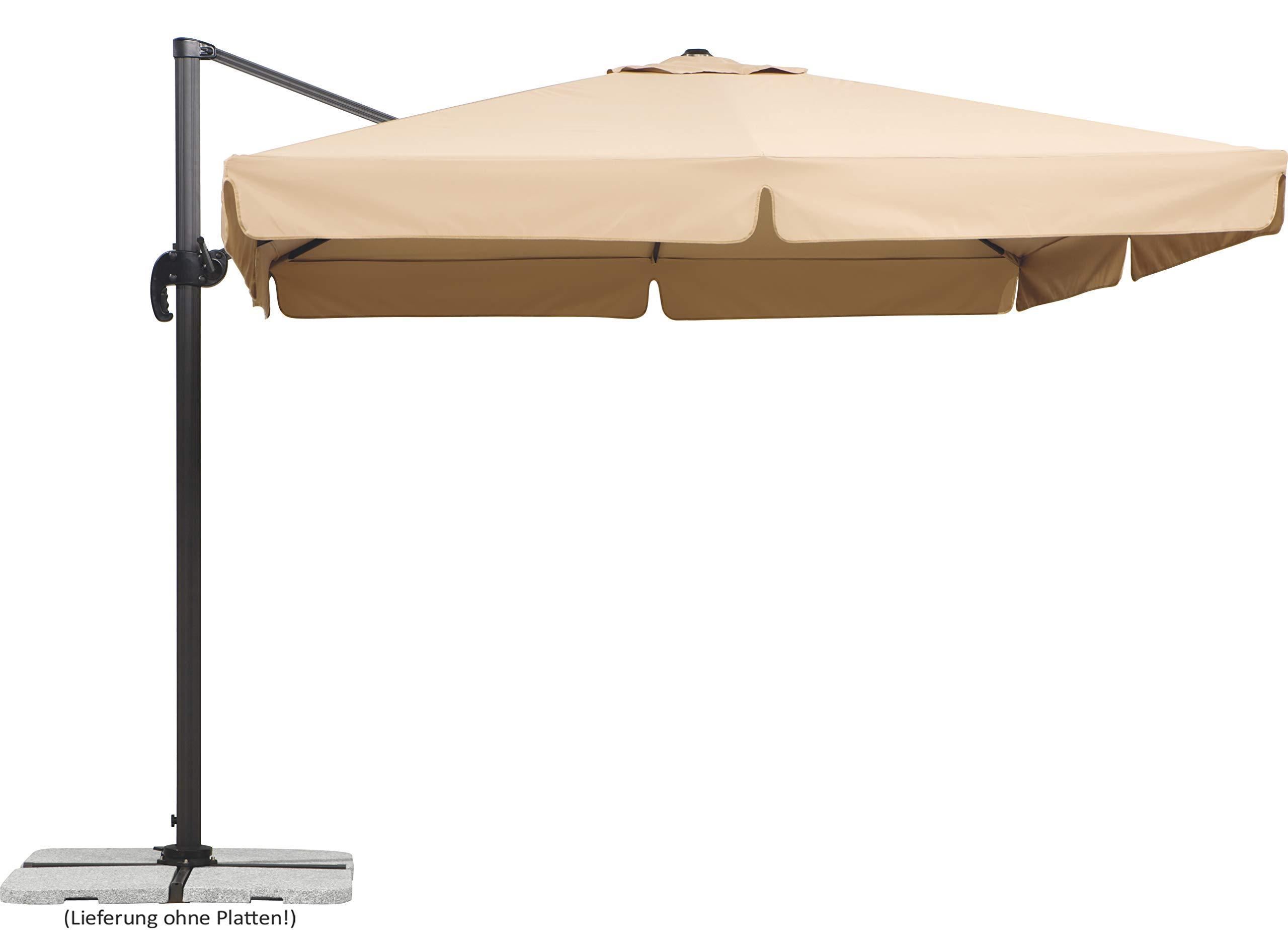 3M Sonnenschirm Gartenschirm Wandschirm Kippen Ampelschirm Kurbelmechanismus Neu