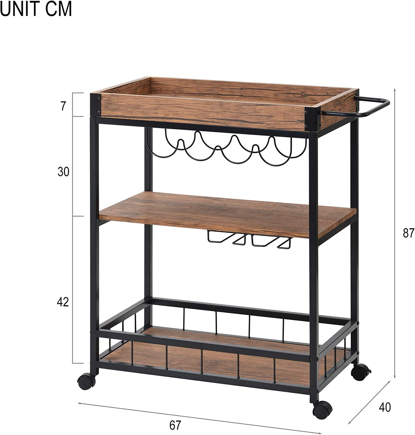 Leveling Feet Rustic Flieks 3 Tiers Kitchen Serving Trolley with Wine Rack Industrial Vintage Style Wood Metal,Kitchen Serving Cart with Removable Tray,Universal Casters with Brakes