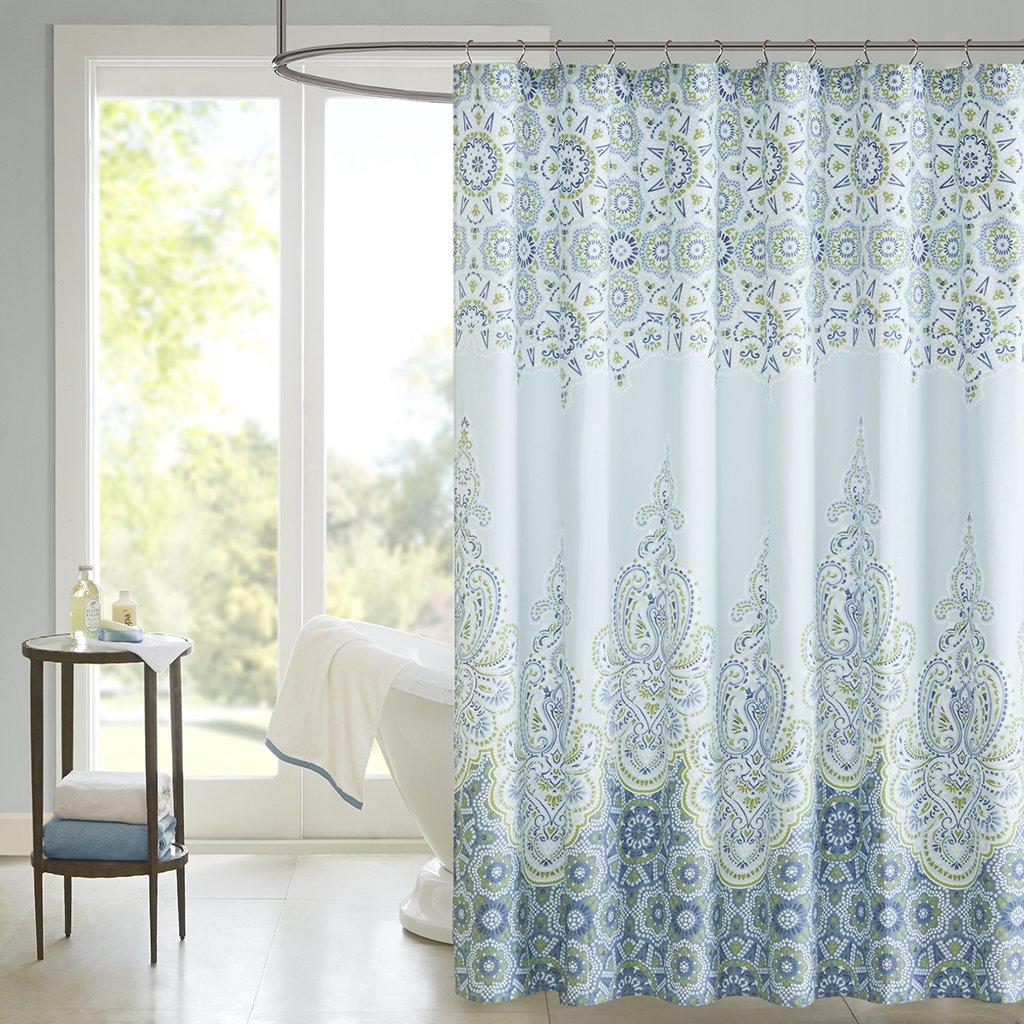 Expensive Shower Curtains Part - 33: Amazon.com: Madison Park Sarita Shower Curtain - Blue - 72x72: Home U0026  Kitchen