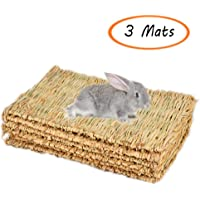 Grass Mat Woven Bed Mat for Small Animal Bunny Bedding Nest Chew Toy Bed Play Toy for Guinea Pig Parrot Rabbit Bunny…