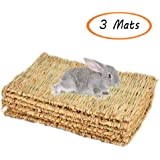 Grass Mat Woven Bed Mat for Small Animal Bunny Bedding Nest Chew Toy Bed Play Toy for Guinea Pig Parrot Rabbit Bunny Hamster