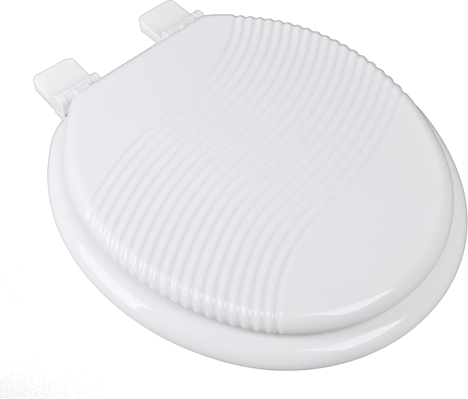 Bath Décor 1F1R8-00WF Sculpted Molded Round Wood Waterfall Toilet Seat, White