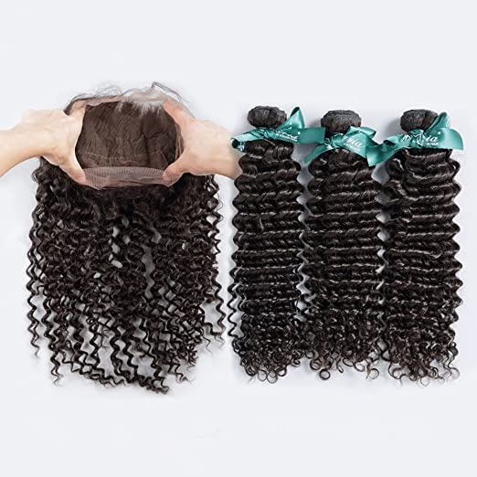 Ruma Hair 8A Pre Plucked Deep Curly 360 Lace Frontal With Bundles Unprocessed Malaysian Virgin Human Hair Deep Wave 3Pcs With Lace Band Frontal Closure 4Pcs Lot (10 with 10 12 14)