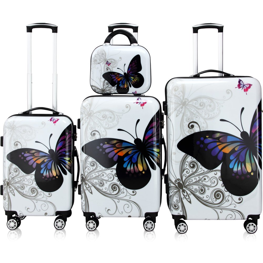 4 Pcs Monzana Butterfly Hardshell Suitcase Spinner Set - with Lock & Beauty Case 360° Castors System 104222