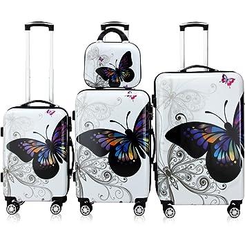 grande vente 908c9 38b16 Lot 4 valises Butterfly M, L, XL et Vanity rigides renforcées Voyage avec  Mallette Maquillage et verrou