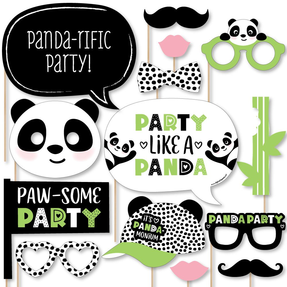 Big Dot of Happiness Party Like a Panda Bear - Baby Shower or Birthday Party Photo Booth Props Kit - 20 Count by Big Dot of Happiness