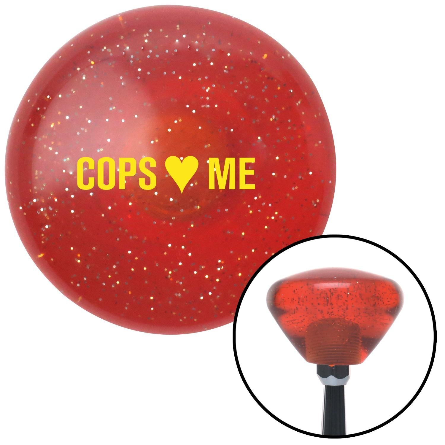 American Shifter 180463 Orange Retro Metal Flake Shift Knob with M16 x 1.5 Insert Yellow Cops 3 Me