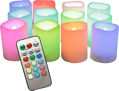 iZAN 12PCS Multi Color Changing Flameless Battery Operated LED Votive Candles with Remote Flickering Electric votives for Halloween Christmas Home Party Wedding Decors 1.5 x2 Batteries Included