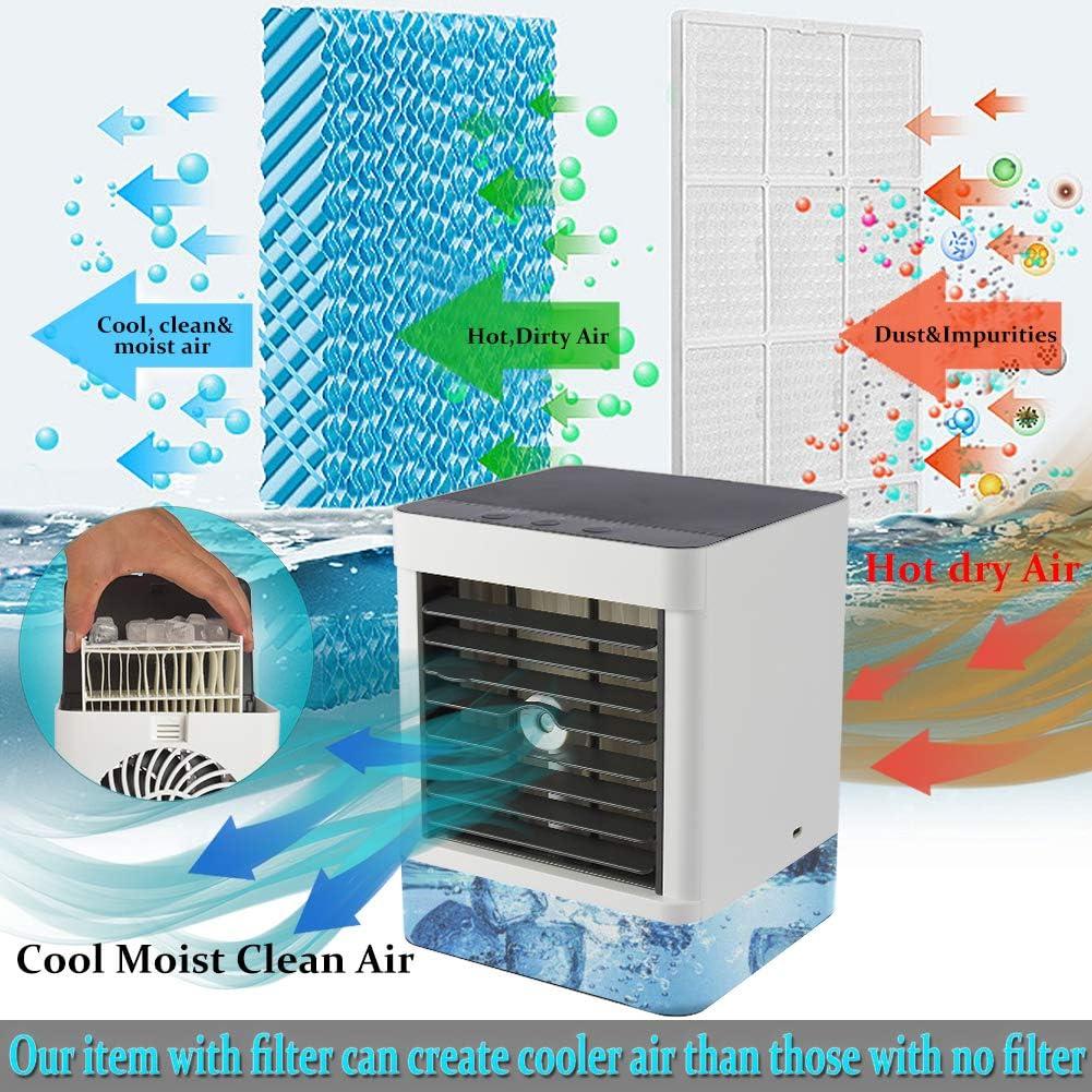 USB dispositivo de refrigeraci/ón noche Fesjoy Mini ventilador port/átil de aire acondicionado evaporador aire acondicionado personal LED 3 velocidades oficina silencioso humidificador
