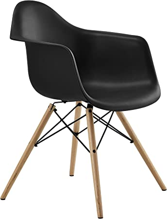 Amazon Com Dhp C013701 Mid Century Modern Chair With Molded Arms And Wood Legs Black Chairs