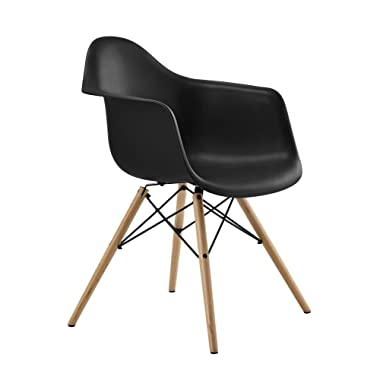 DHP Mid Century Modern Chair with Molded Arms and Wood Legs, Lightweight, Black