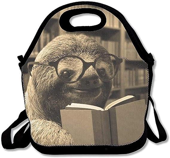 Amazon.com: Perezoso de lectura de libros bolsa de almuerzo ...