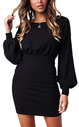 56ffc5fff2e ECOWISH Womens Dresses Casual Long Lantern Sleeve Crew Neck Solid Color Bodycon  Mini Dress 08 Black