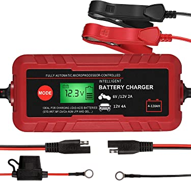 6V//12V Automotive Battery Charger Portable Battery Maintainer Rescue and Recover Batteries Smart Battery Charger Fast Charging for Car Boat Lawn Mower Marine Sealed 8-Stages Trickle Charger