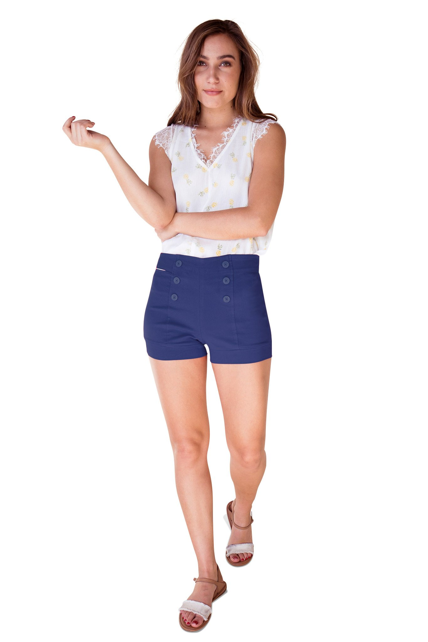 Bebop Womens Pull-On Blue Depth Size 5 Sailor Shorts High Waist Front Buttons by Be Bop