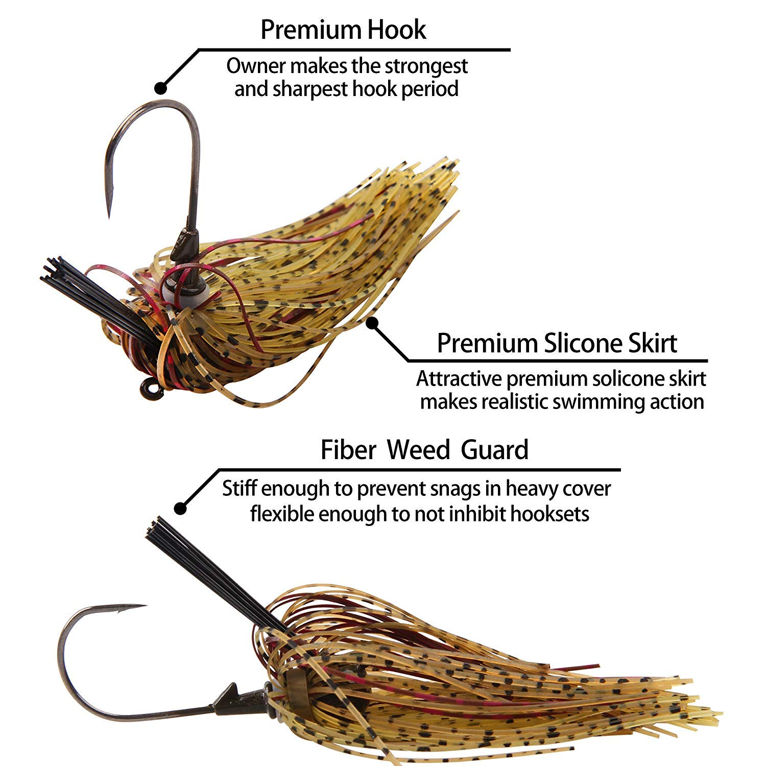 Weedless Football jig Head 3//6Pcs Flipping Jig Silicon Rubber Skirt for Bass Artificial Baits Fishing Lure Kit 1//4oz-3//8oz