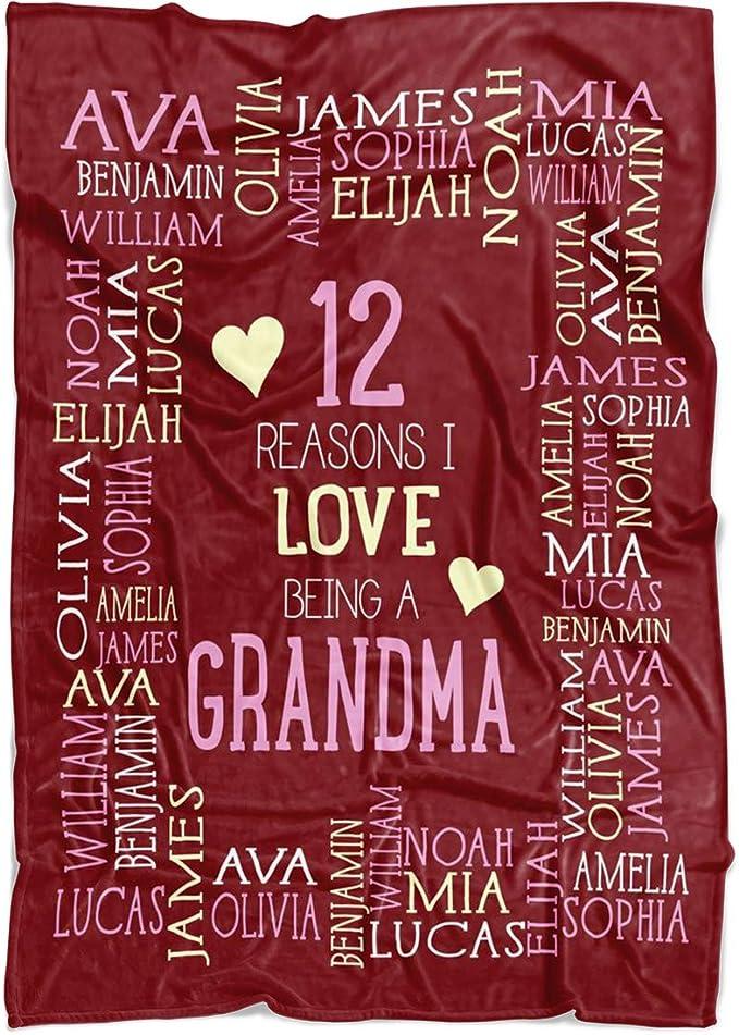 Custom Blanket with Names Add Your Family Name Mom Grandma Grandpa Throw Fleece Blankets