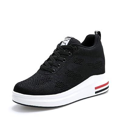 29313baf073e TQGOLD Womens Knit Platform Hidden Wedges Sneaker High Top Athletic Walking  Shoes High Heel Mesh Fashion