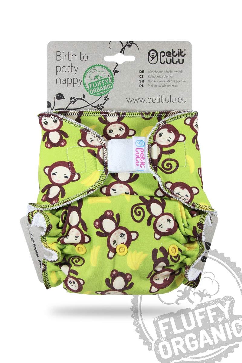 Bambus nat/ürliche wiederverwendbare Stoffwindeln Spielzimmer 4-15 kg Petit Lulu One Size H/öschenwindel Klett Ohne Polyester Fluffy Organic